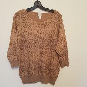 Chicos sparkle cheetah print sweater
